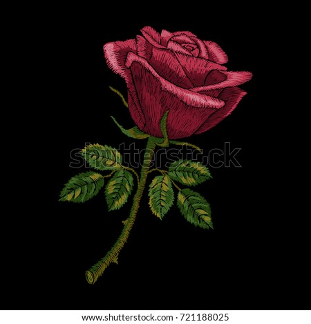 Red rose embroidery on black background. Satin stitch imitation, vector.