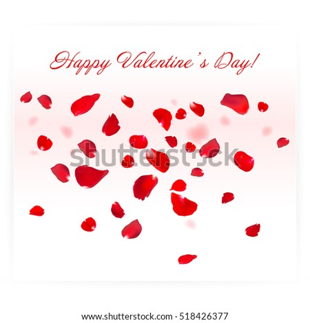 Red Rose Falling Petals On White Background Valentine Card Eps 10