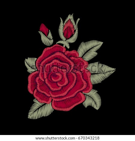 red rose flower embroidery