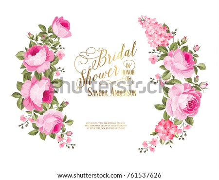 Red rose flower wreath with calligraphic text for bridal shower invitation. Vector illustration. #761537626