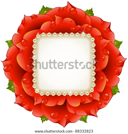 Red Rose frame circle vector