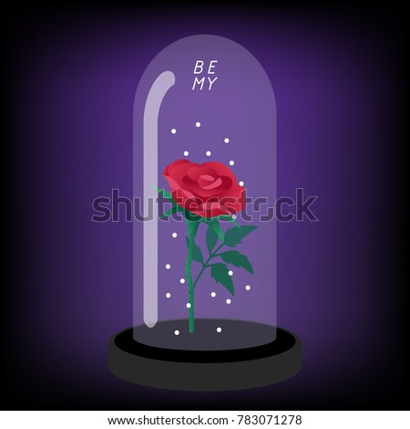 red rose under the glass dome