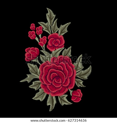 Red roses and green leaves. Chic flowers. Embroidery.