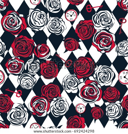 Red roses and white roses, key and clock on chess background. Seamless pattern. Alice in Wonderland background, wallpaper. Vector illustration