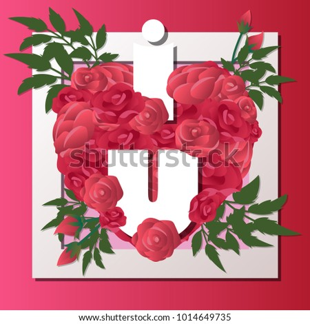 red roses blooming heart shape