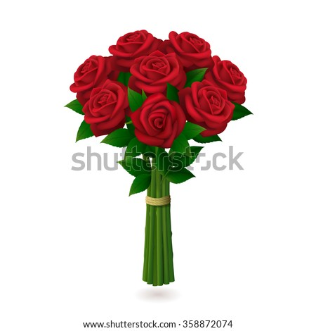 red roses bouquet isolated on