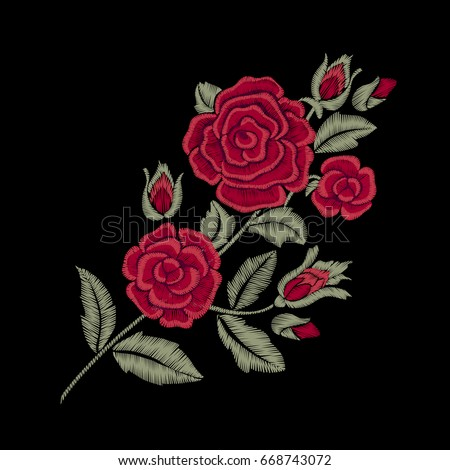 Red roses. Embroidered flowers and leaves.