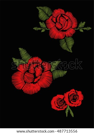 red roses embroidery