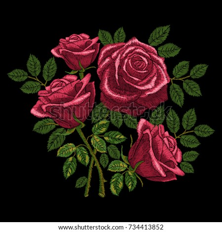 Red roses embroidery, bouquet of flowers and leaves. Element for design. Satin stitch imitation, vector.