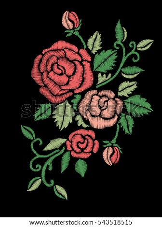 Red roses embroidery on black background.