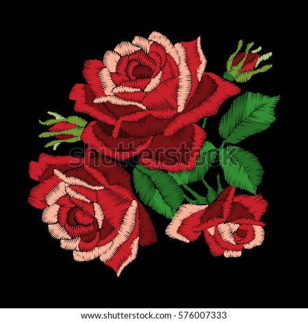 red roses embroidery on black