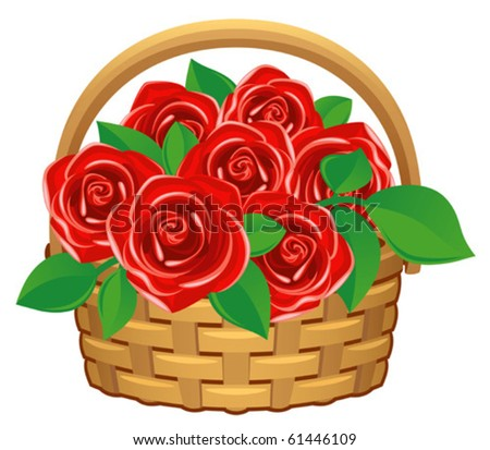 red roses in basket