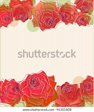 Red roses lines on stripy background.