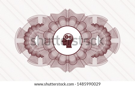 Red rosette (money style emblem) with head with gears inside icon inside