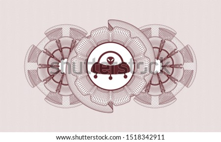 Red rosette (money style emblem) with ufo with aline inside icon inside