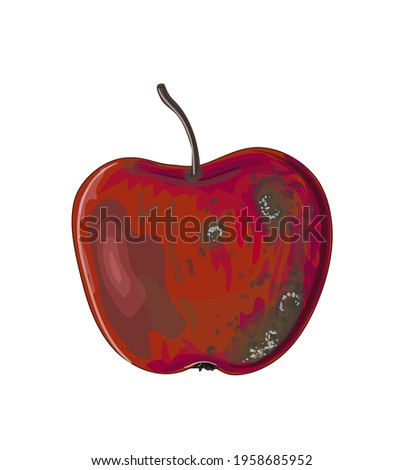 Red rotten apple in cartoon style. Stock vector illustration isolated on a white background. Foto stock ©