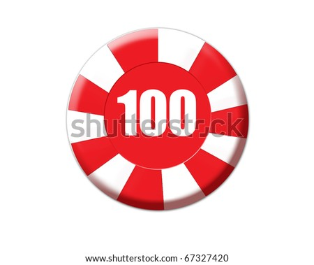 Red roulette chip isolated on white, vector illustration