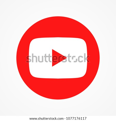 Red round button video player Social media YouTube. Vector illustration. EPS 10