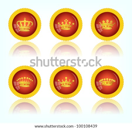 Red round button with a picture of a crown, 10eps.