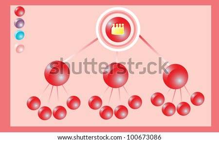 Red Round Capsule Flowchart on red Gradient  Background Vector