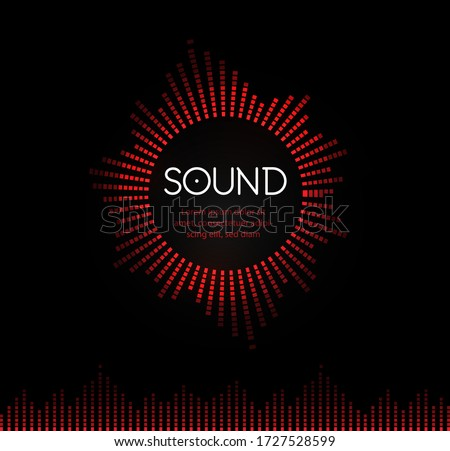 Red round musical sound logo. Soundtrack recording logotype. Music play back circle vector illustration. Tunes application icon on black background. Musical studio record icon. Audio track symbol. Stock photo ©