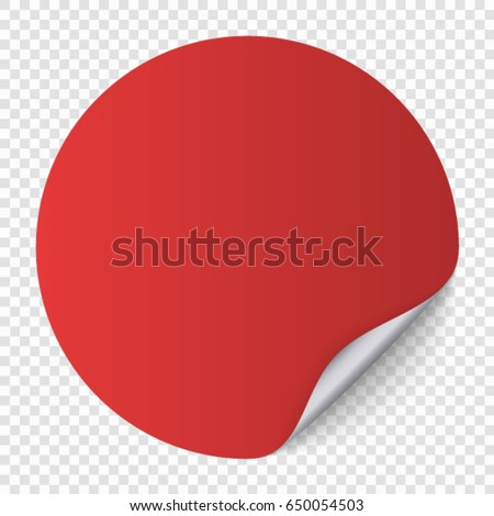 red Round paper sticker template with bent edge and shadow, Transparent background