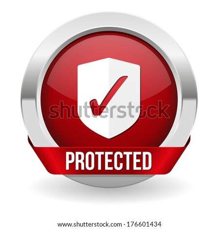 Red round protected button with metallic border
