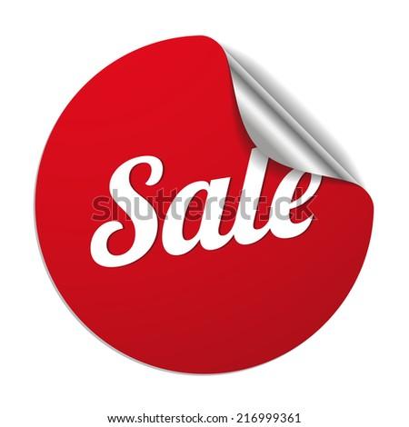 Red round sale sticker on white background