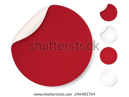Red Round stickers. Circle labels with shadows, Vector #246482764
