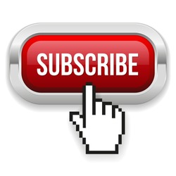 Red rounded subscribe button with metallic border on white background