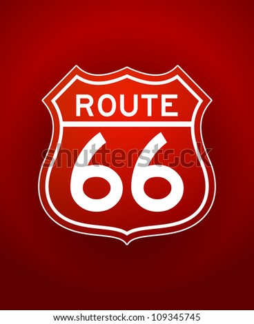 Red Route 66 Silhouette - White line art illustration of Route 66 Sign on red background