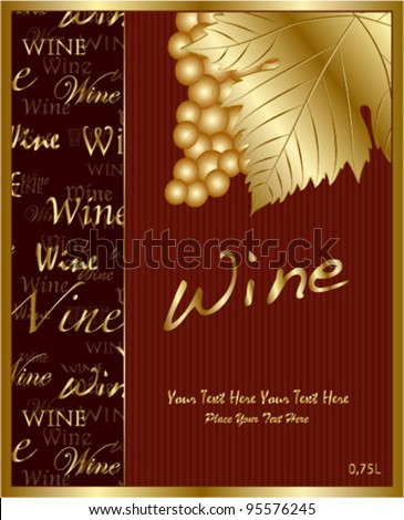 red royal text wine label - stock vector