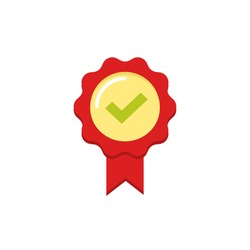 Red rubber stamp seal vector icon with tick and ribbon, approved label symbol, confirmation badge, concept of award prize, medal emblem flat modern design isolated on white