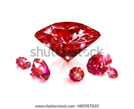 Red rubies on a white background. Gemstones. Vector illustration.