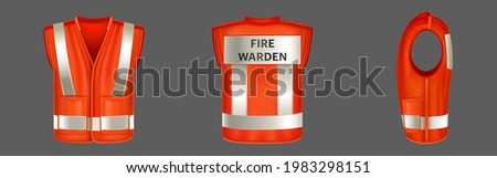 Red safety vest with reflective stripes, uniform for fire warden. Vector realistic 3d waistcoat with reflectors and pockets for firefighter in front, back and side view isolated on gray background Stock photo ©