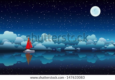 red sailing boat in a calm sea