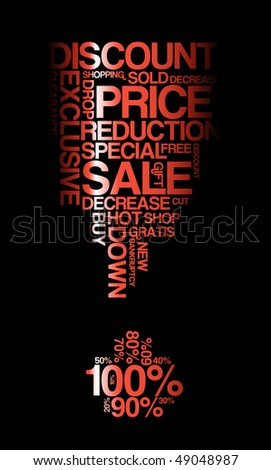 Red sale discount poster with black background (vector)