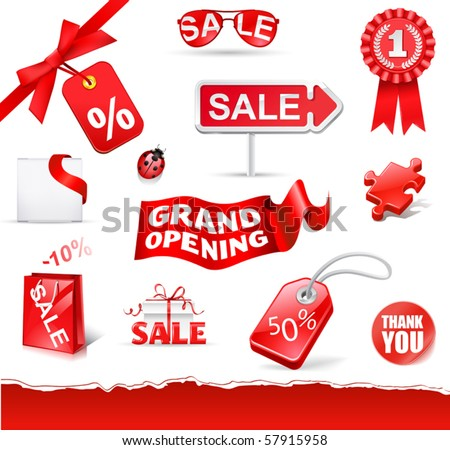 red sale set ( vecor icons) - stock vector