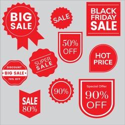 red sale tag design vector illustration and discount sticker design