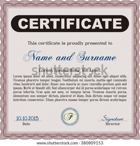Red Sample certificate or diploma. With complex linear background. Elegant design. Vector certificate template.