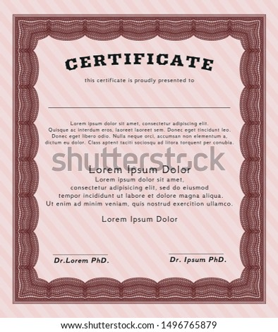 Red Sample Diploma. Artistry design. Customizable, Easy to edit and change colors. With guilloche pattern.