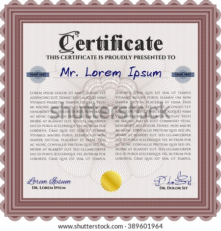 Red Sample Diploma. With linear background. Frame certificate template Vector. Modern design.