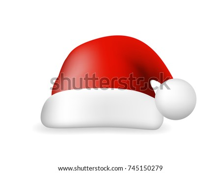 Red Santa Claus Hat on White Background. Isolated Vector Illustration
