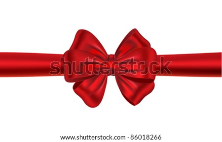Red satin gift bow. Ribbon. Vector illustration