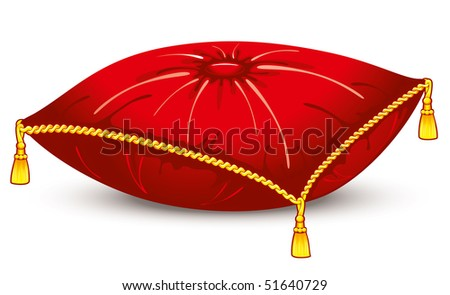 red satin pillow with gold