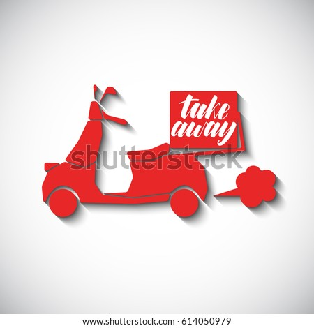 Red scooter in flat style with hand written phrase Take away. Logo for food delivery.