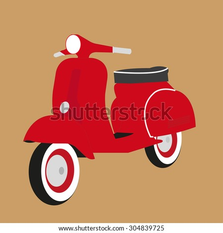 red scooter motorbike
