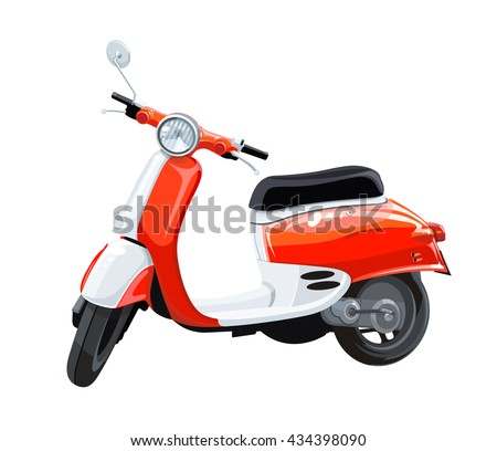 red scooter motorbike isolated