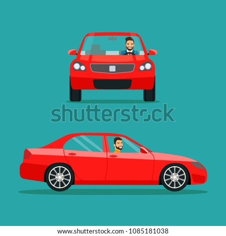 stock-vector-red-sedan-car-two-angle-set-car-with-driver-man-side-view-and-front-view-vector-flat-style