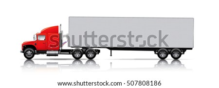 red semi-truck with trailer